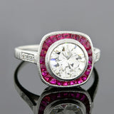 Art Deco Style 18kt Diamond & Ruby