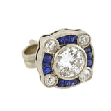 Art Deco Style Platinum Diamond & Sapphire Stud Earrings 1.20ctw