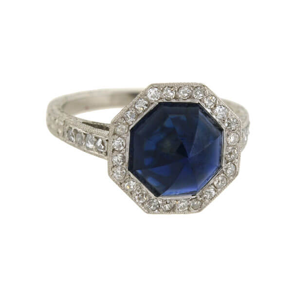 Art Deco Platinum Octagonal Sapphire & Diamond Ring 2.25ct