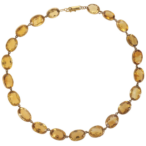 Art Deco 14kt Citrine Link Necklace 16.5""