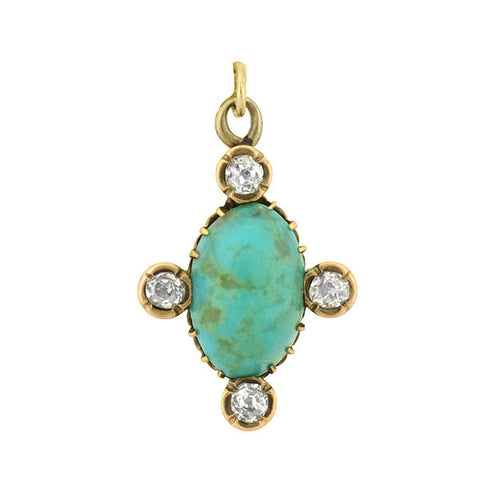 Victorian 14kt Turquoise & Mine Cut Diamond Charm