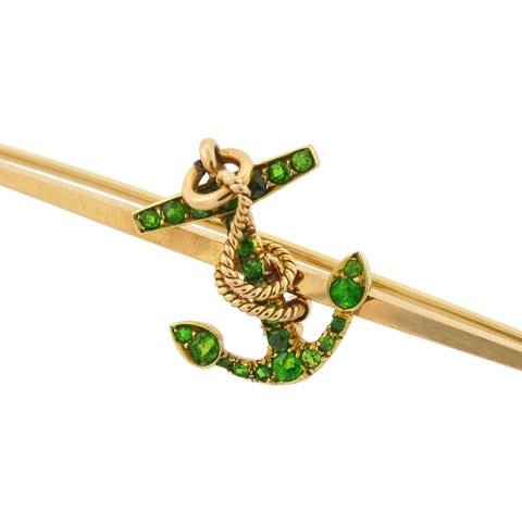 Victorian 14kt Demantoid Garnet Nautical Anchor Bar Pin