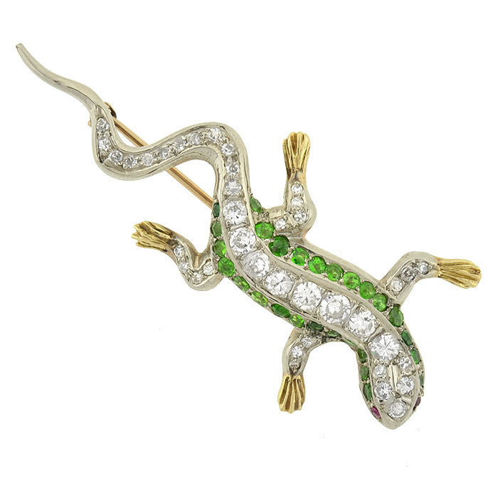 Edwardian 14kt/Platinum Diamond & Demantoid Garnet Lizard Pin