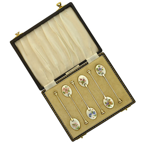 WILLIAM SUCKLING Ltd. Sterling Enameled Demitasse Spoon Set in Original Box