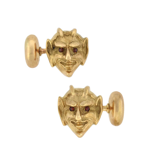 Victorian 14kt Gold 3-Dimensional Ruby Devil Face Cufflinks