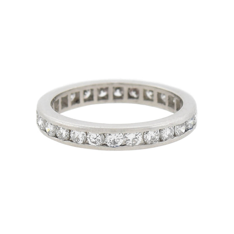 Art Deco Platinum French Cut Onyx Eternity Band