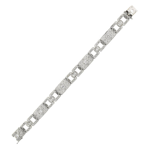 Late Art Deco Platinum Diamond Link Bracelet 1.75ctw