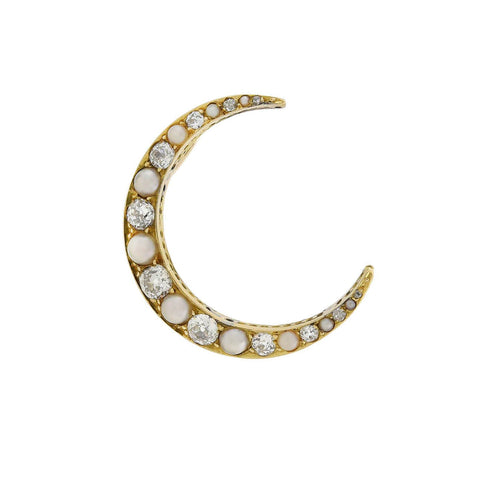 Victorian 14kt Natural Pearl + Mine Cut Diamond Crescent Pendant
