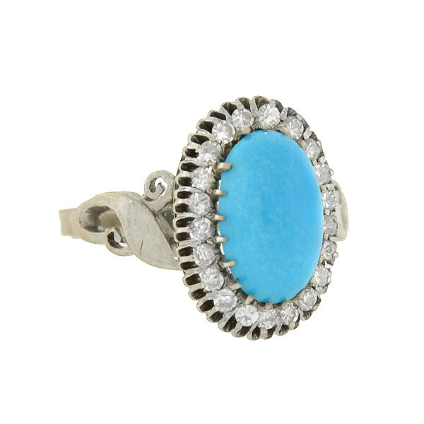 Retro 14kt Cabochon Turquoise Diamond Cluster Ring