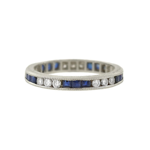 Estate Platinum Sapphire & Diamond Eternity Band