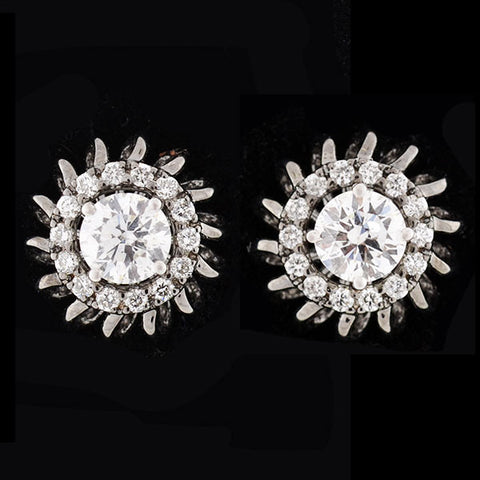 Estate 18kt Diamond Stud Earrings w/ Diamond Halo Jackets 1.15ctw