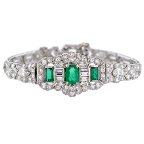 Late Art Deco Platinum Diamond Emerald Line Bracelet