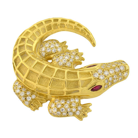 Estate 18kt Diamond Ruby Alligator Pin 14.60dwt