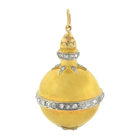 Victorian 18kt Rose Cut Diamond Starburst Ball Pendant