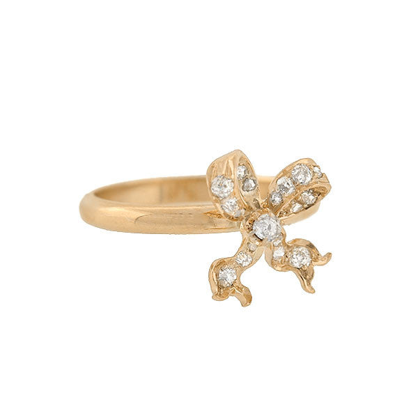 Victorian 14kt 3-Dimensional Diamond Bow Ring