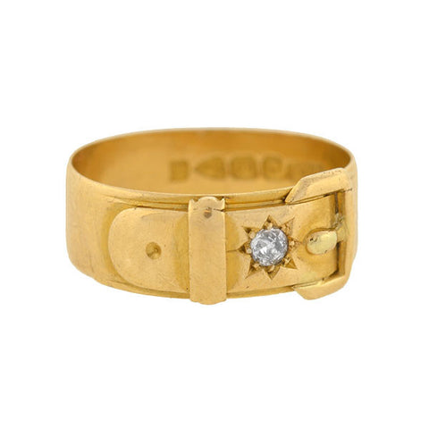 Victorian 18kt Mine Cut Diamond Buckle Ring