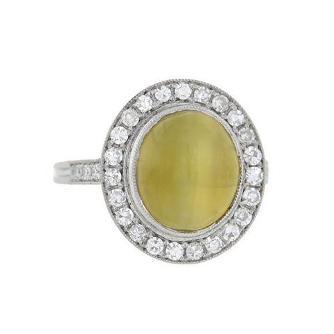 Estate Platinum Cat's Eye Chrysoberyl & Diamond Halo Ring