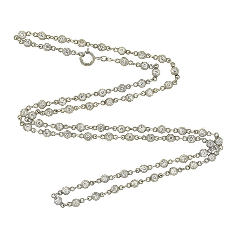 Edwardian Platinum Diamond 3ctw Chain Necklace 17.5""