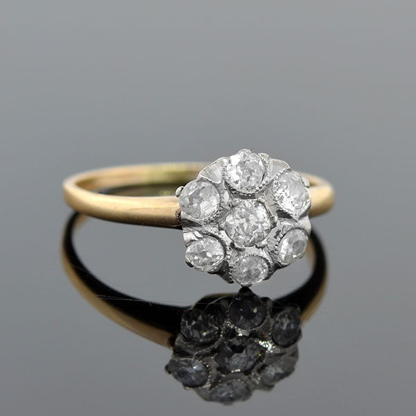 Edwardian 14kt Platinum Delicate Diamond Cluster Ring .60ctw