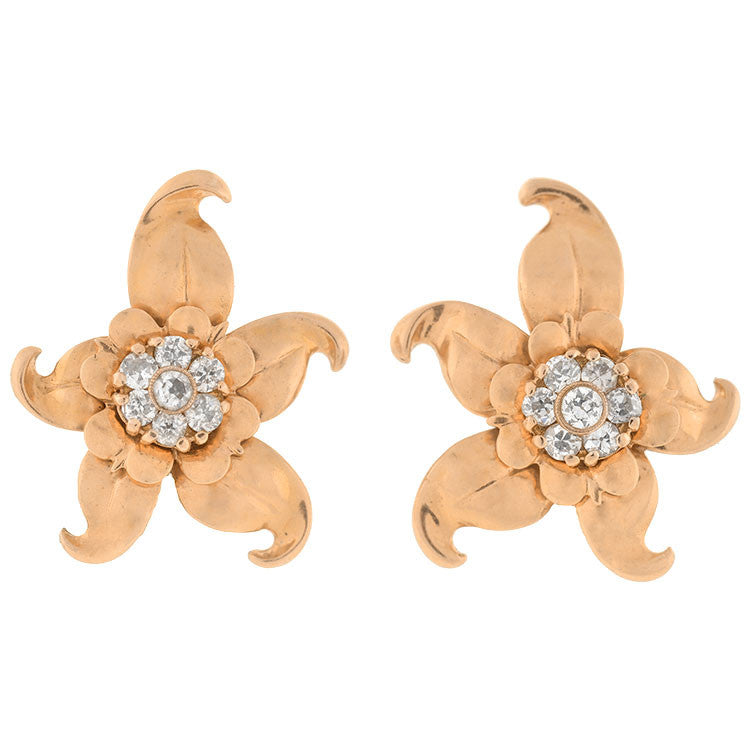 Vintage 14kt & Diamond Starfish Flower Clip Earrings