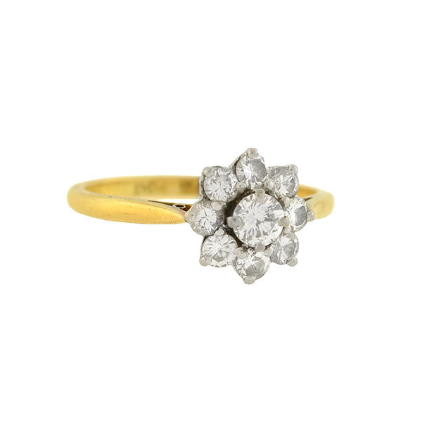 Retro 18kt/Platinum Diamond Cluster Ring 0.80ctw