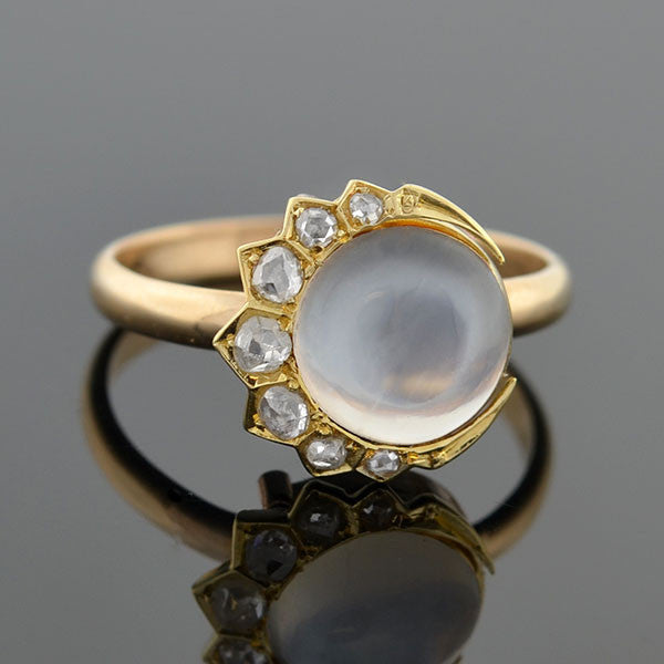 Victorian 14kt Rose Cut Diamond Crescent & Moonstone Ring