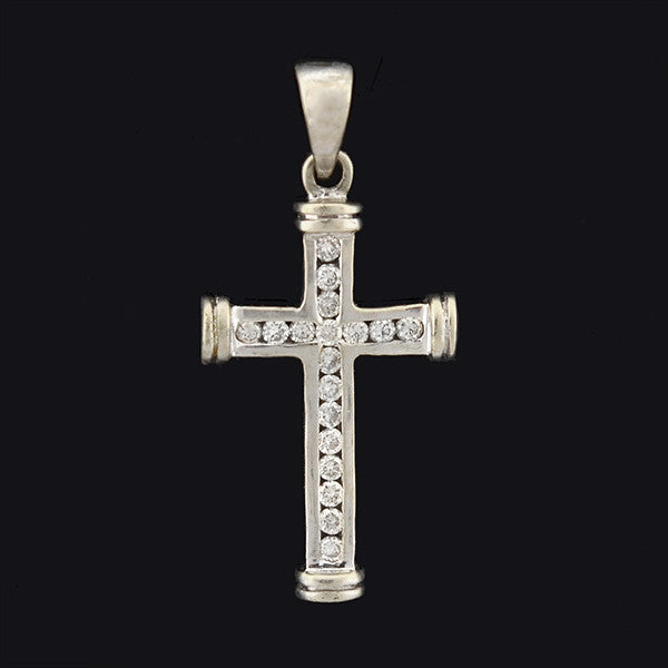 Estate 14kt Gold Diamond Cross Pendant