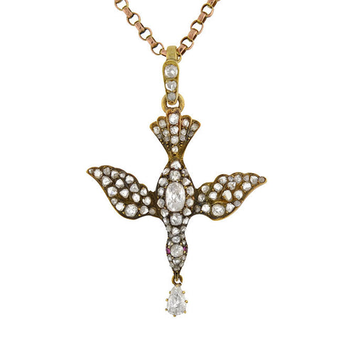 "Victorian 18kt & Diamond ""Saint Esprit"" Dove Necklace 2.00ctw"