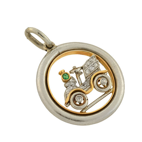 Edwardian Platinum/14kt Diamond Emerald Old Fashioned Car Charm Pendant