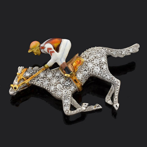 Edwardian Platinum Diamond Enameled Horse & Jockey Pin