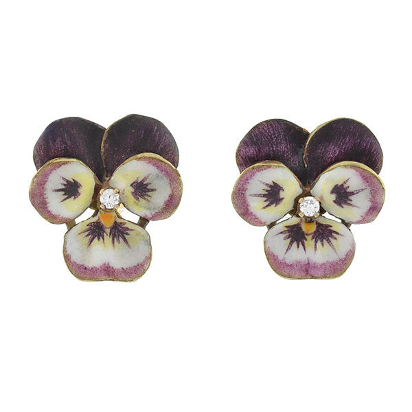 Art Nouveau 14kt Enamel & Diamond Pansy Flower Stud Earrings