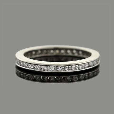 Retro 14kt Round Brilliant Diamond Eternity Band 1.10ctw
