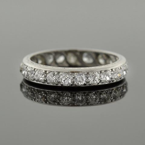 Edwardian Platinum Mine Cut Diamond Eternity Band 2.20ctw