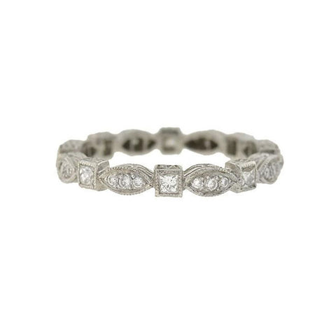 Estate Platinum Multi-Cut Diamond Eternity Band Ring 0.75ctw
