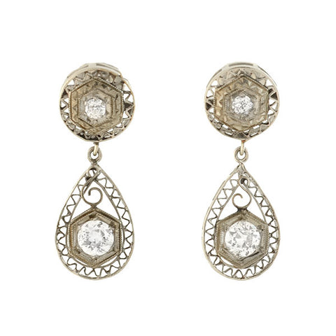 Art Deco 14kt Diamond Filigree Teardrop Earrings 0.50ctw