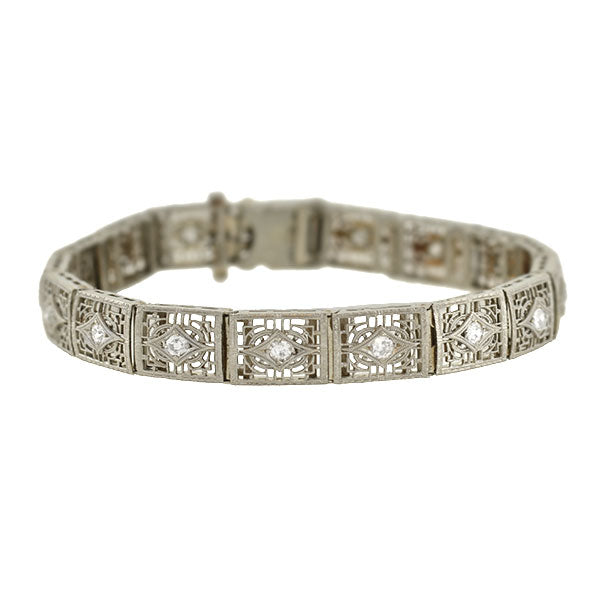 Art Deco 14kt/Platinum & Diamond Filigree Line Bracelet 1.15ctw