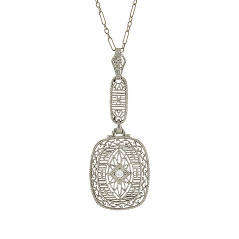 Art Deco 14kt Diamond Filigree Pendant & Chain