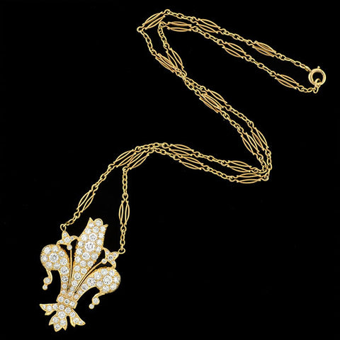 LAYKIN ET CIE Art Deco Rare 14kt Fleur-de-Lys Diamond Necklace 3.00+ctw