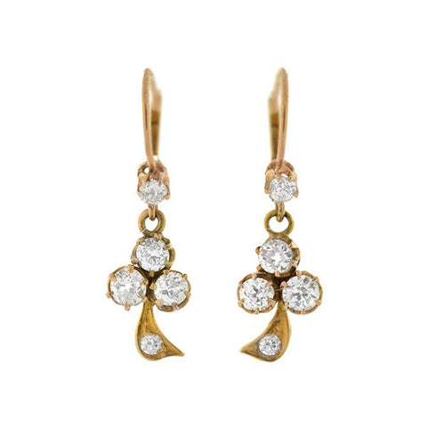 Victorian 18kt Diamond Trefoil Dangling Earrings