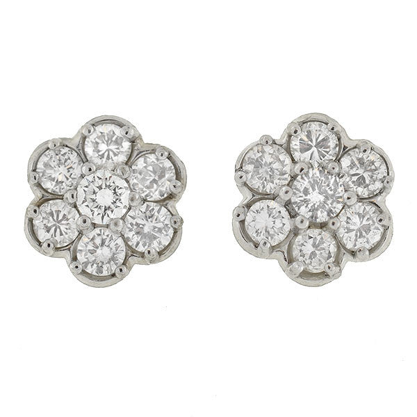 Estate 14kt Diamond Cluster Flower Studs .70ctw