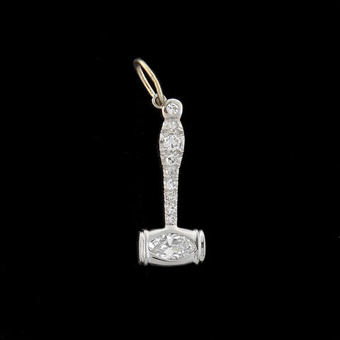 "Art Deco Platinum & Marquise Diamond ""Gavel"" Charm .50ctw"