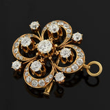 Late Victorian 14kt Diamond Cluster Pin/Pendant 3ctw