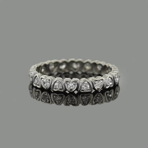 Edwardian Platinum Diamond Hearts Eternity Band .30ctw