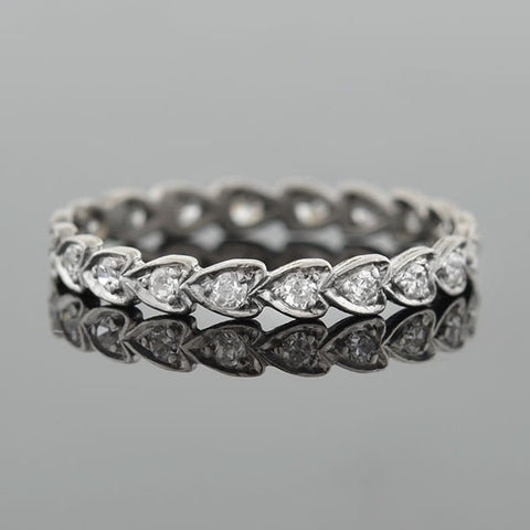 "Art Deco Platinum Diamond ""Follow Your Heart"" Eternity Band"