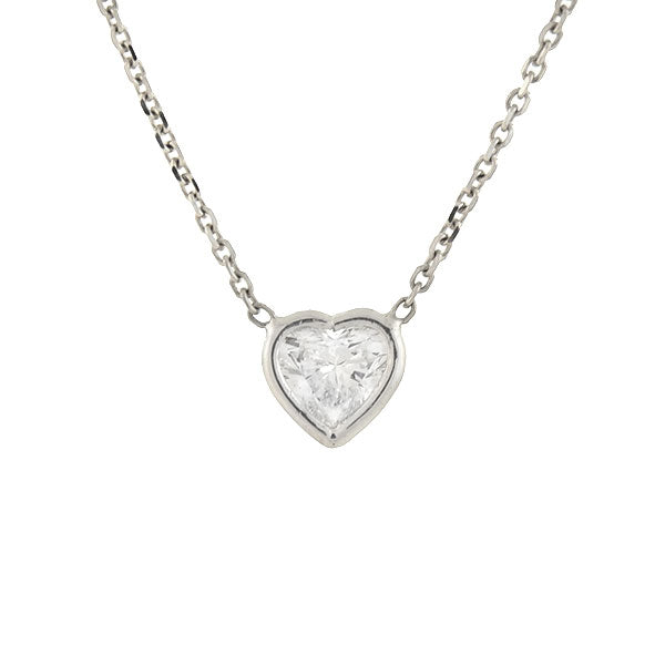 Estate 14kt Gold Diamond Heart Pendant Necklace 0.55ct