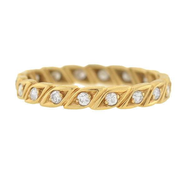 Estate 14kt Diamond Leaf Motif Eternity Band