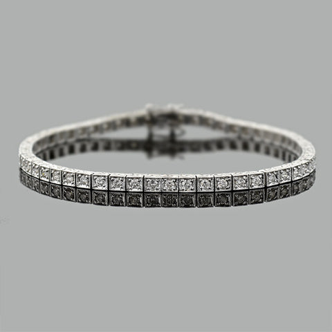 Estate Platinum Diamond Line Bracelet 1.00ctw