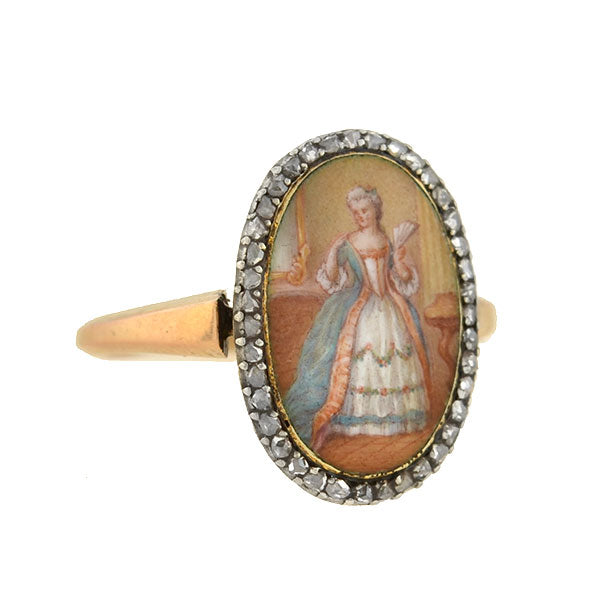 Early Victorian French Hand Painted Porcelain Portrait Diamond Ring