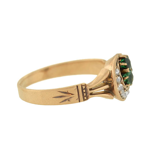 Victorian 14kt Diamond Crescent & Emerald Trefoil Clover Ring