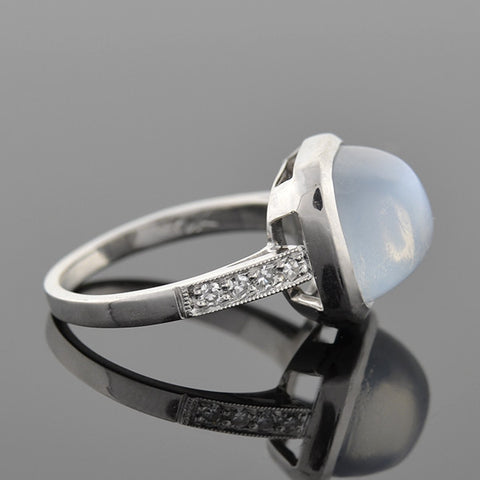 Art Deco 14k Moonstone & Diamond Ring